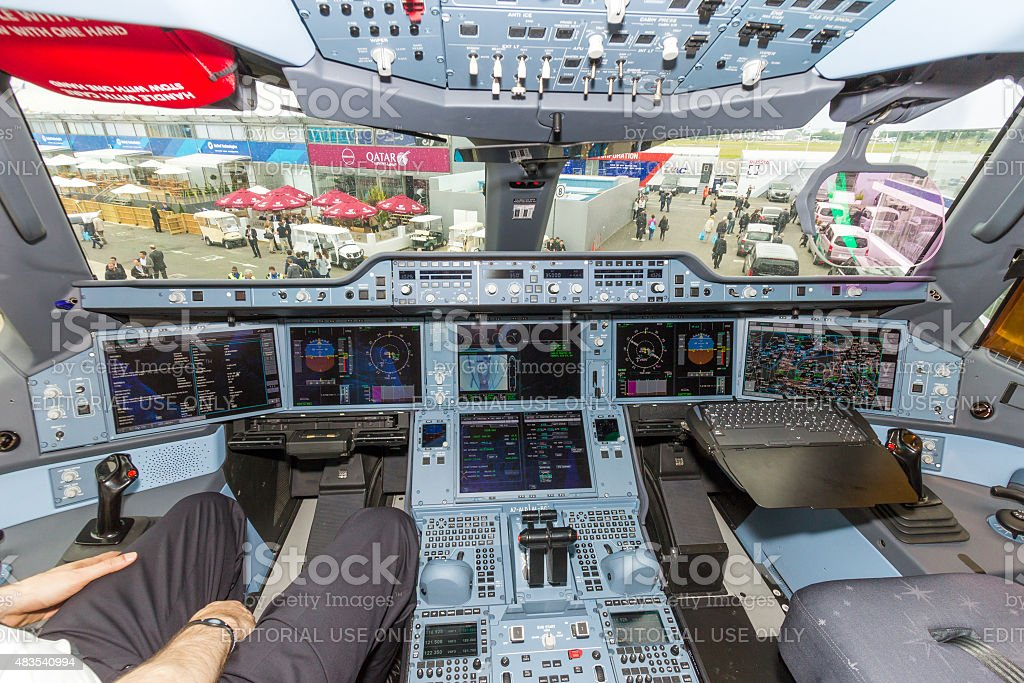 Airbus A350 cockpit stock photo