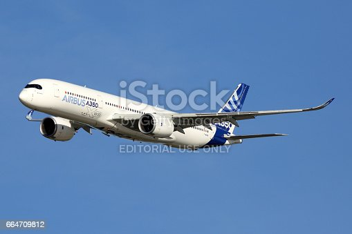 istock Airbus A350 perfoming demonstration flight in Zhukovsky during MAKS-2015 airshow. 664709812