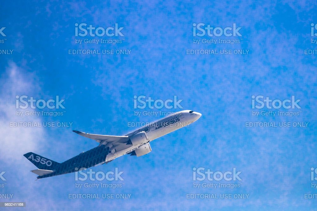 Airbus A350 shows demonstration flight at Airshow China 2016 stock photo