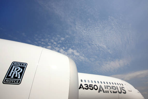 Airbus A350 standing at Sheremetyevo international airport. - foto stock