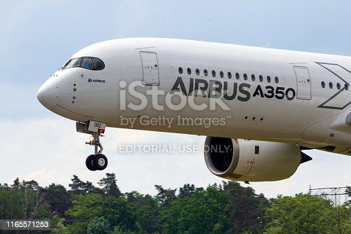Berlin - Jun 2, 2016: Airbus A350 XWB passenger plane landing on Berlin-Schoneveld airport during the ILA Airshow