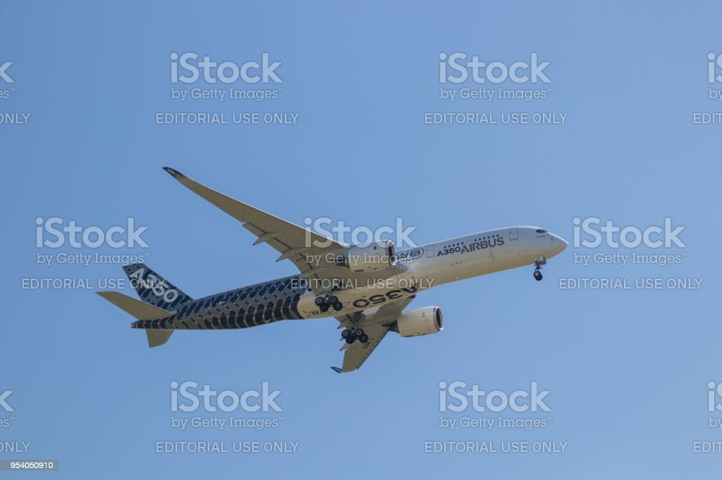 Airbus A350 XWB performs in a clear blue sky at the ILA - Berlin Air Show stock photo