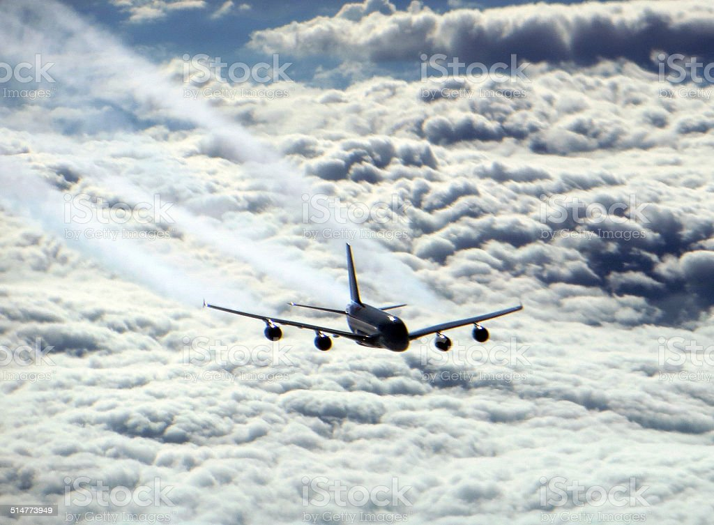 Airbus A380 A-380 Wide body aircraft coming at you inflight stock photo