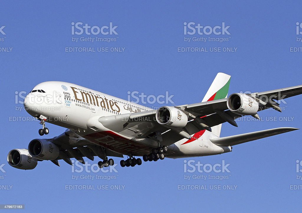 Airbus A380 about to touch down at Manchester Airport , UK stock photo