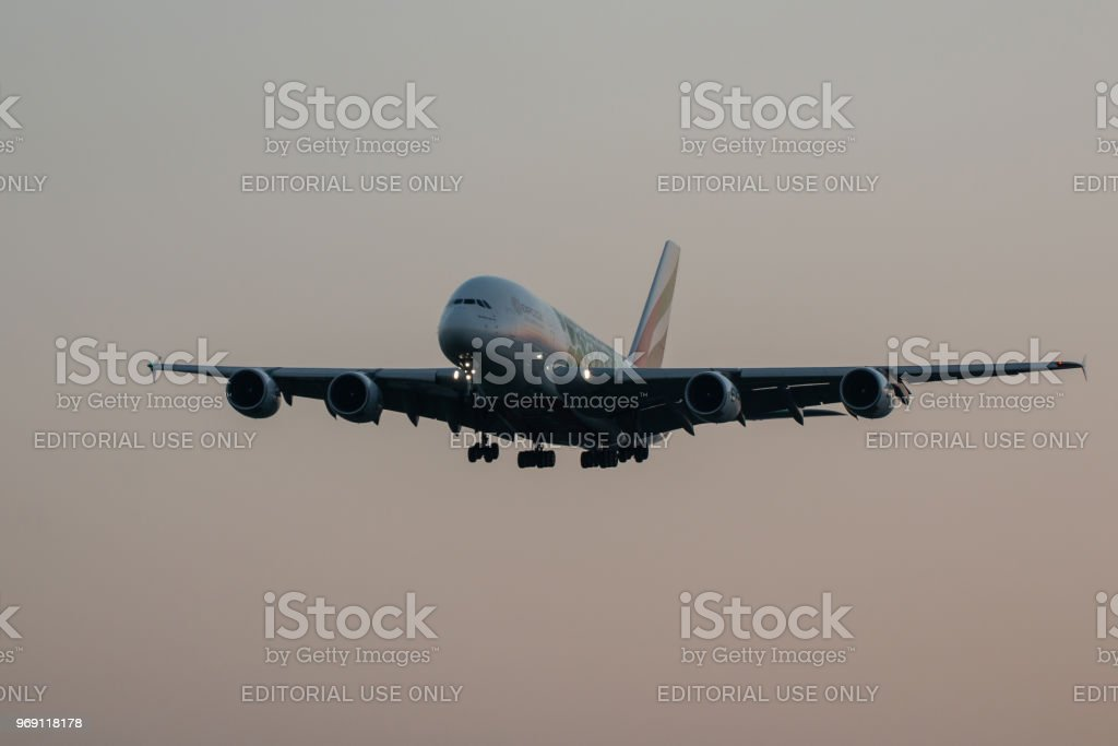 Airbus A380 Emirates Airlines landing stock photo