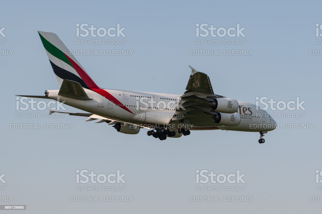Airbus a380 emirates airlines stock photo