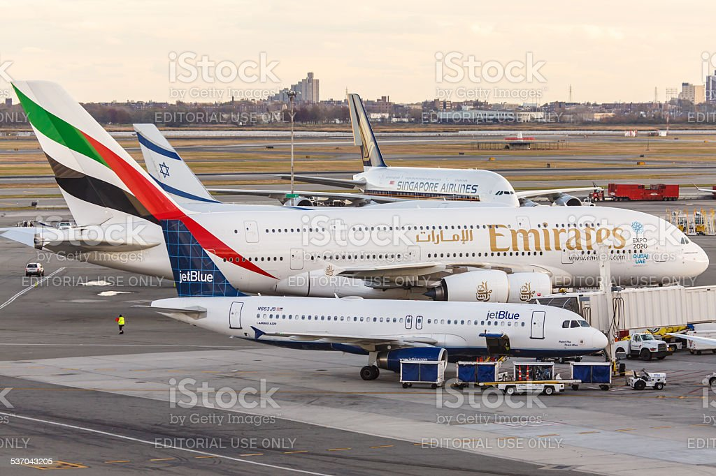 Airbus A380 Emirates at JFK Airport stock photo