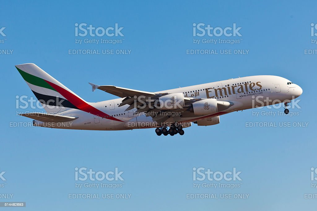 Airbus A380 Emirates takes off from JFK Airport stock photo