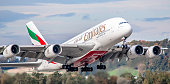 Zurich, Switzerland - October 17, 2019: An Emirates Airbus A380-861 takes off from Zurich Airport. The Airbus A380 with registration A6-EEJ has been in service for the airline of the United Arab Emirates since September 2013.