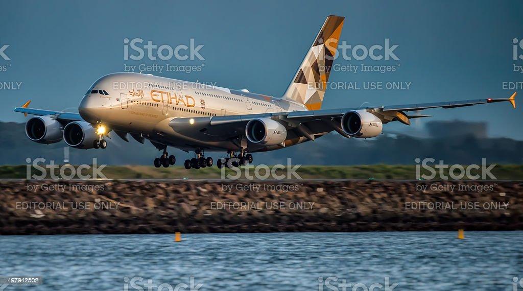 Airbus A380  Etihad stock photo