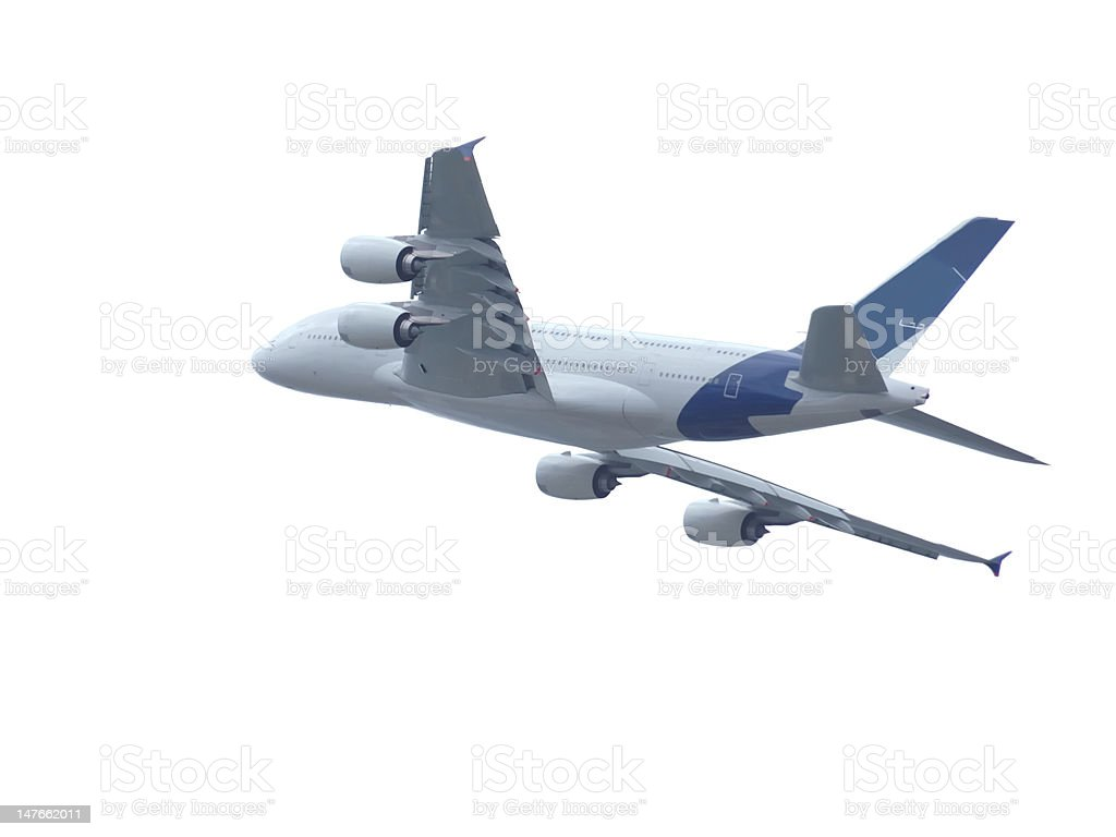 airbus a380 flying isolated on white stock photo