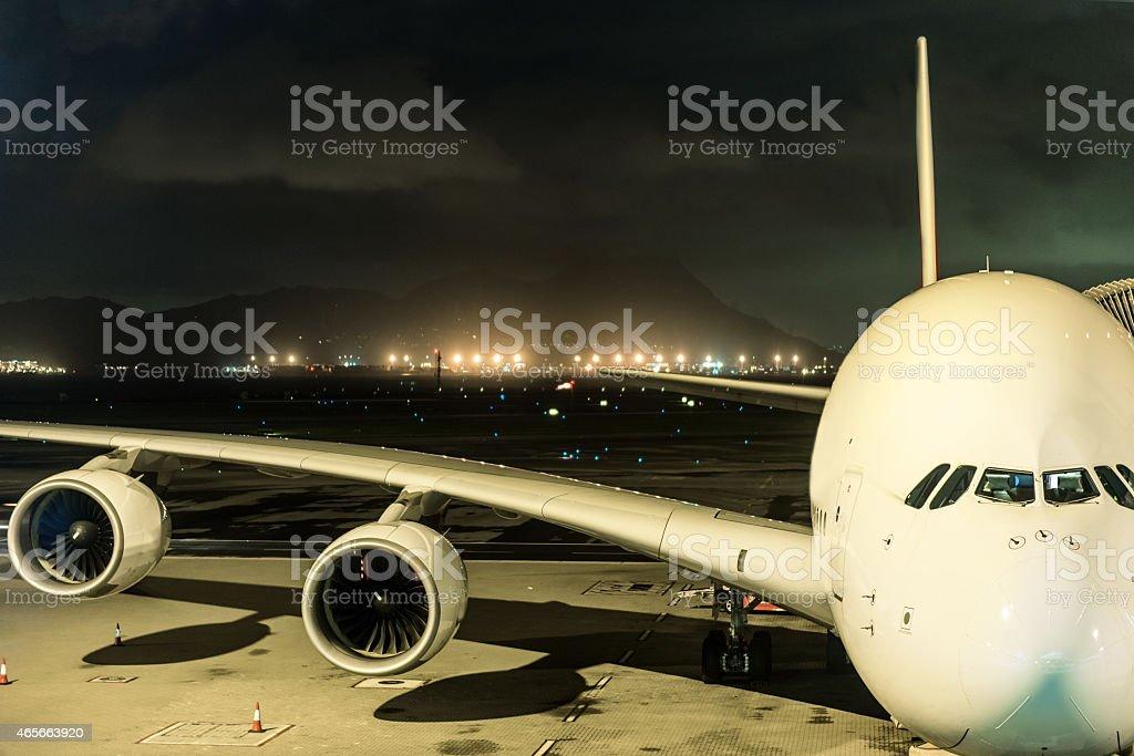 Airbus A380 front view, Hong Kong, China stock photo