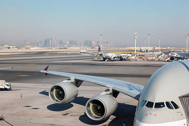 Airbus A380 in Qatar stock photo