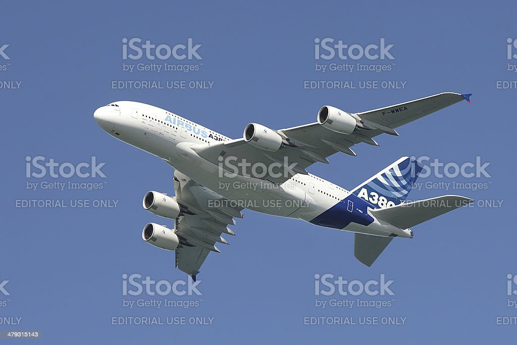 Airbus A380 in the air. stock photo