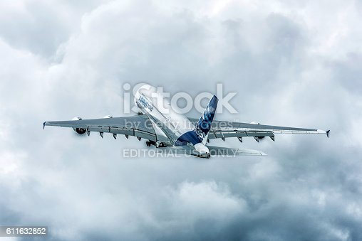 Farnborough, England - July 17, 2016: The Airbus A380, the worlds largest passenger airliner, during it's flying display at the Farnborough International Air-Show.