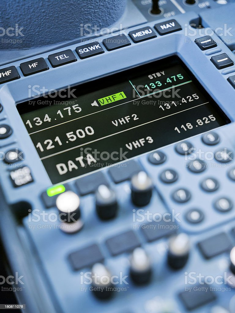 Airbus A380 Radio Control Panel stock photo