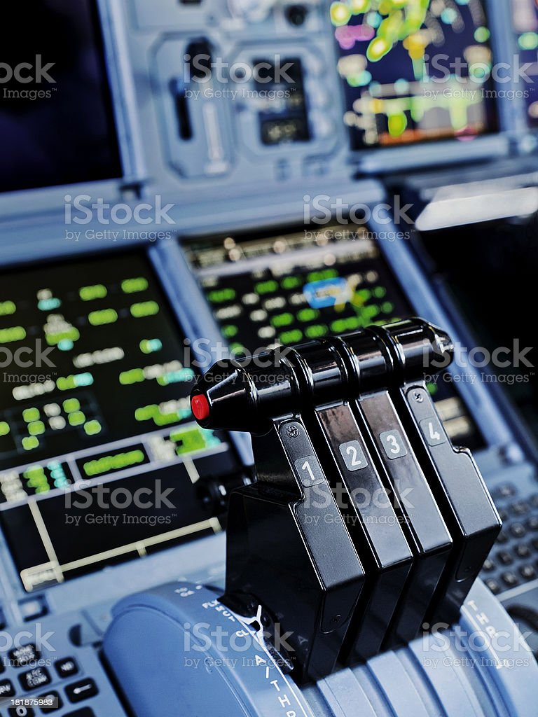Airbus A380 Thrust Levers royalty-free stock photo