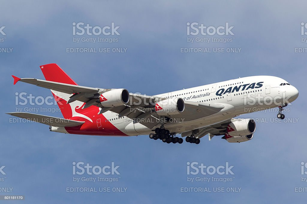 Airbus A380 VH-OQE operated by Qantas airways stock photo