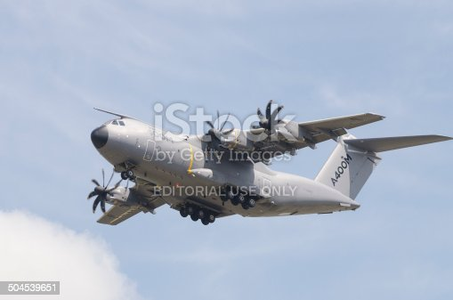 Fairford, United kingdom - July 12, 2014: The Airbus A400M Atlas four-engined military transport aircraft flying a display at the Royal International Air Tattoo. The Royal Airforce is due to take delivery of it's first aircraft in September 2014.