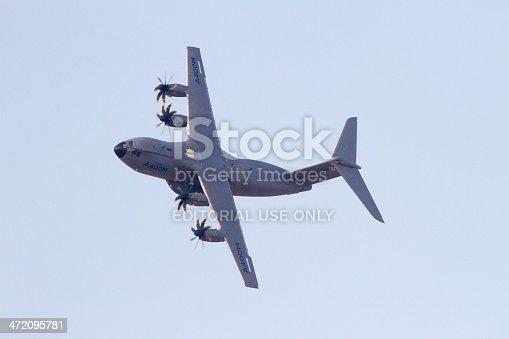 Dubai, UAE - November 17, 2013. The mighty Airbus A400M military transport aircraft displays at the Dubai Airshow.