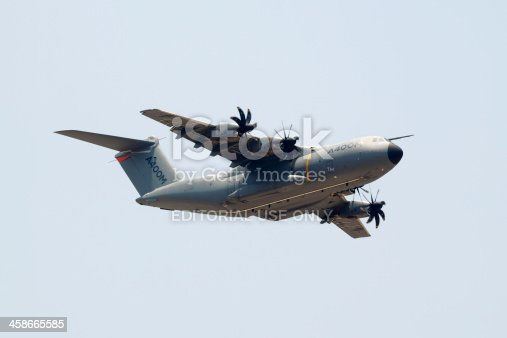 Chiang Mai , Thailand - April 19, 2012 : Airbus Military A400M (Grizzly 4) flying over Chiang Mai airbase