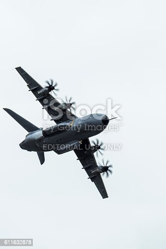 Farnborough, England - July 17, 2016: The Airbus A400M military transport aircraft performing at the 2016 farnborough airshow