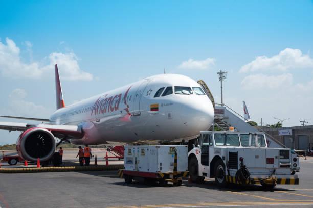 Airbus A321 de aeronaves linha aérea colombiana Avianca usar viagens domésticas. - foto de acervo