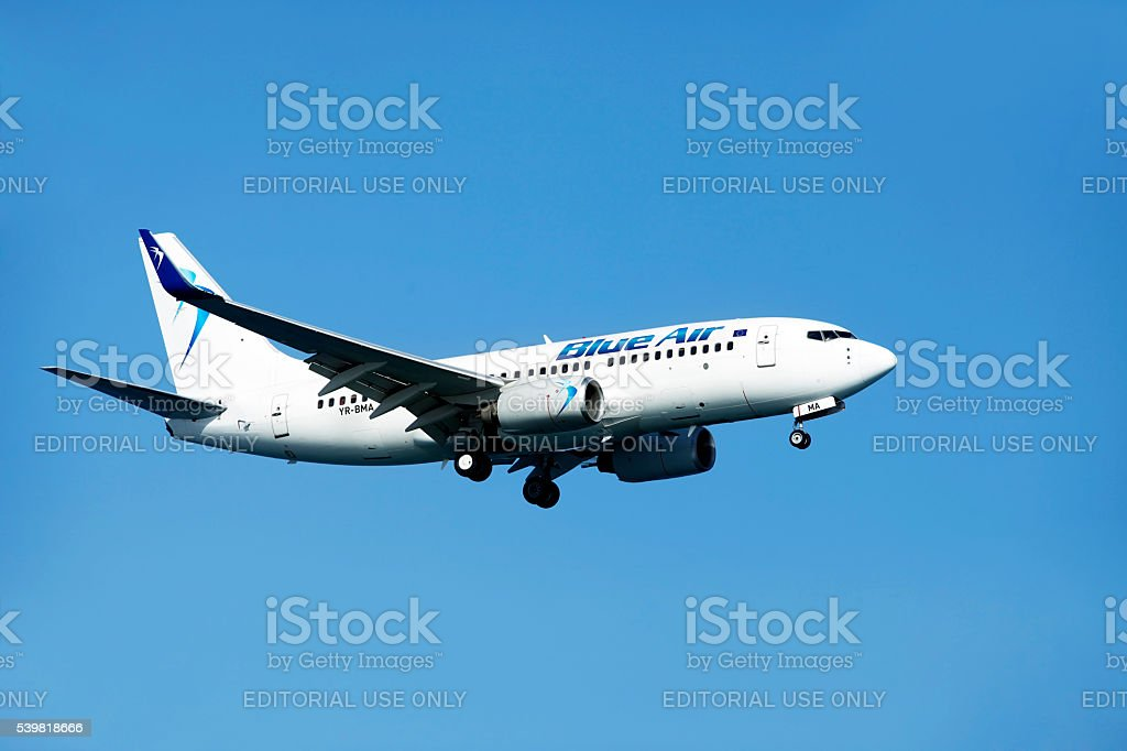 Airbus airline Blue Air in the skies stock photo