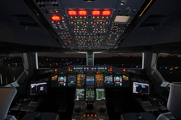 airbus cockpit - cockpit stock photos and pictures