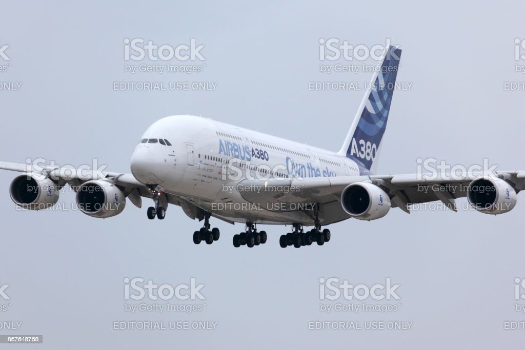 Airbus Industrie A380 F-WWDD modern civil airliner landing after a demo flight in Zhukovsky during MAKS-2013 airshow. stock photo