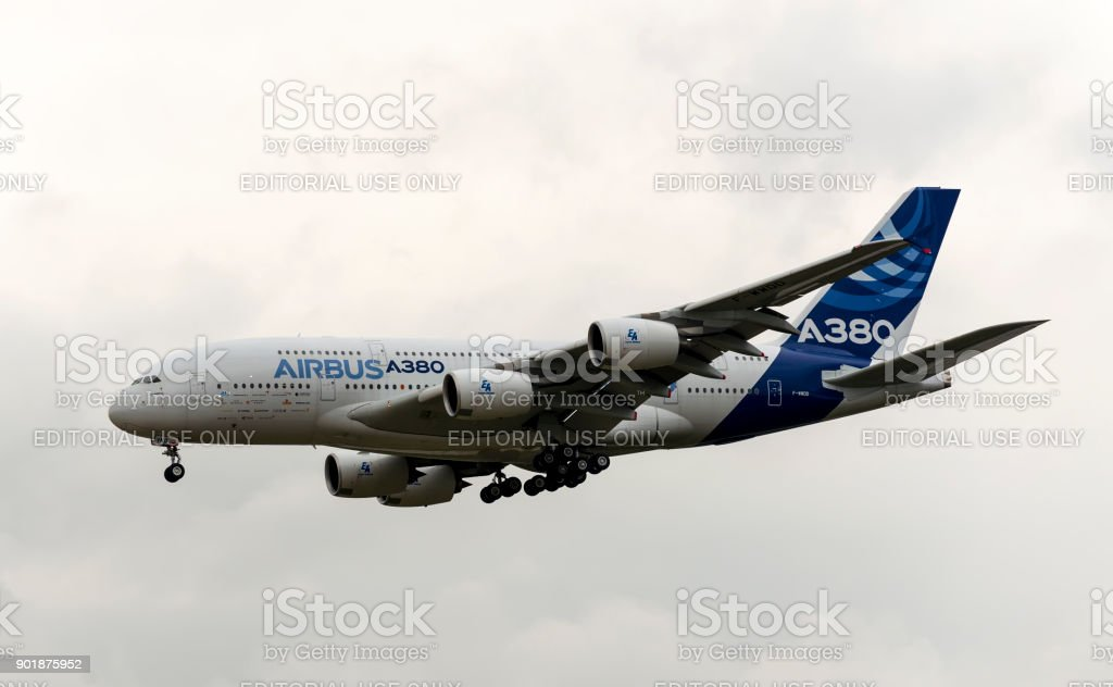 Airbus Industrie A380 modern civil airliner taking off for a demo flight in Zhukovsky during MAKS-2013 airshow. stock photo