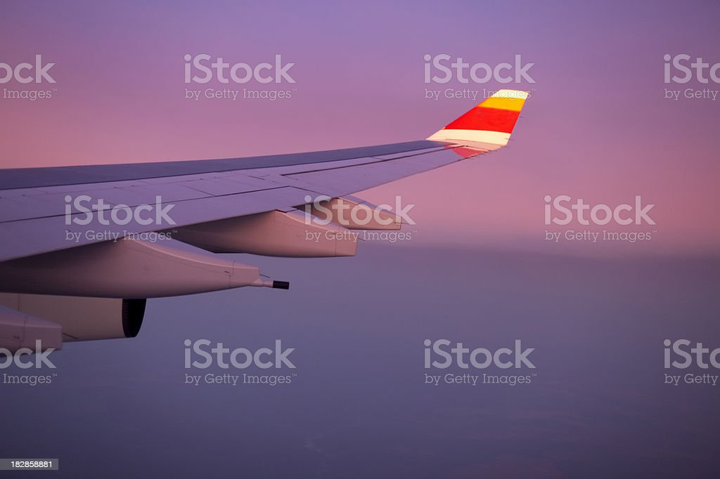 Airbus Wing at sunset stock photo