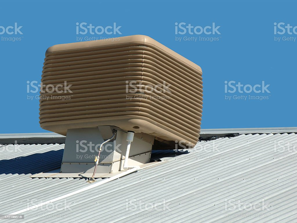 Airconditioning unit on roof stock photo