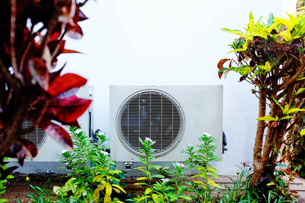 Air-conditioning unit surrounded by tropical vegetation stock photo