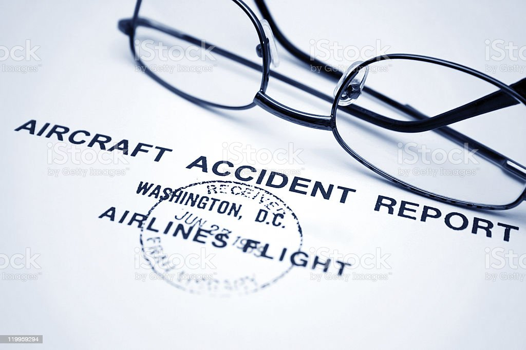 Aircraft accident report stock photo