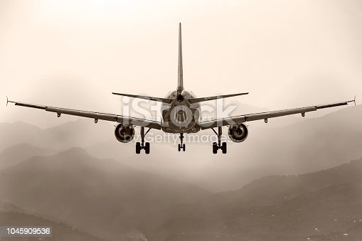 864534880 istock photo Aircraft, airliner with landing gear comes to land on the background of the mountains. Rear view. 1045909536