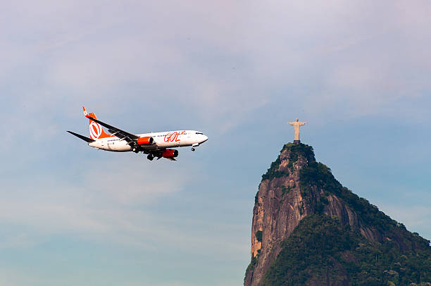 Aircraft and Christ the Redeemer stock photo