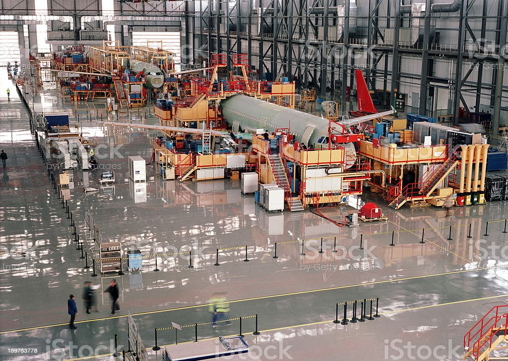 Aircraft assembly line royalty-free stock photo