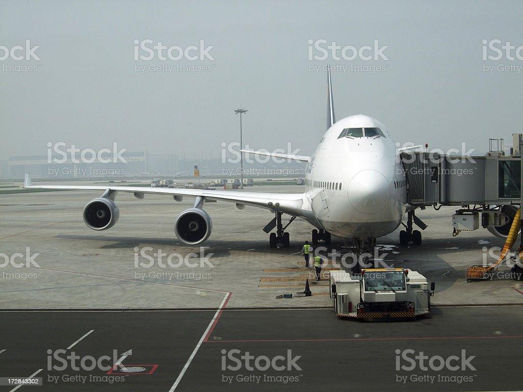 Aircraft at gate royalty-free stock photo