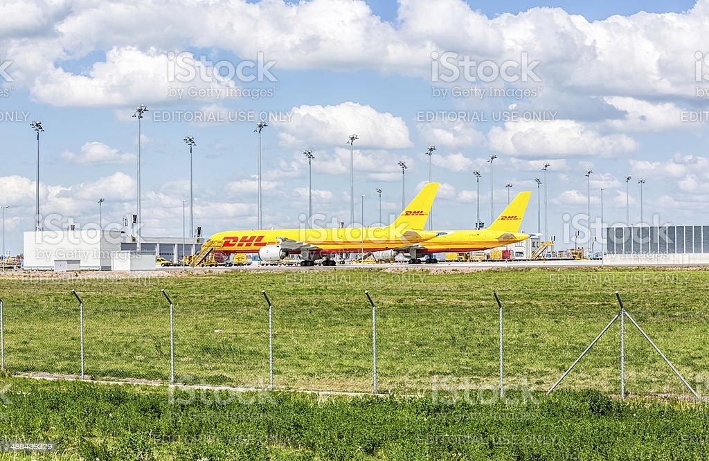 DHL aircraft at Leipzig airport stock photo