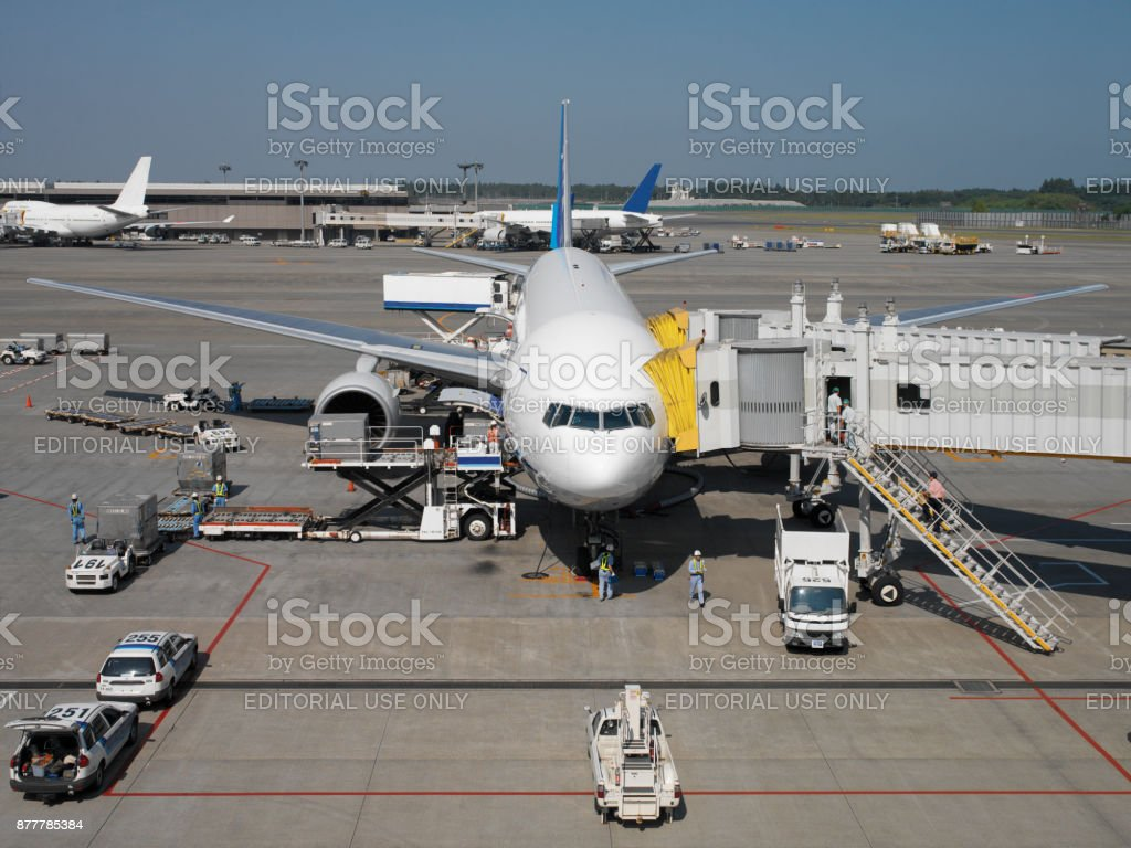 Aircraft at Narita International Airport - Tokyo - Japan stock photo