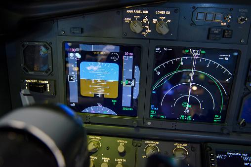 istock Aircraft attitude indicator display panel and navigation display 858770110