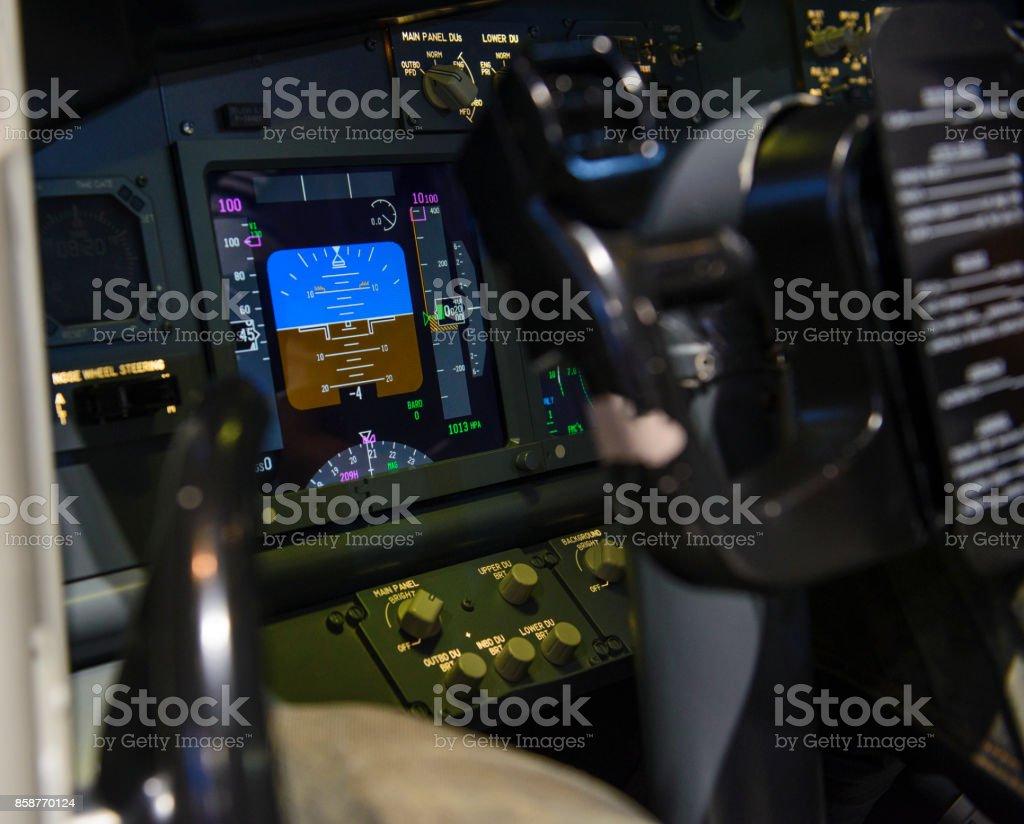 Aircraft attitude indicator display panel stock photo