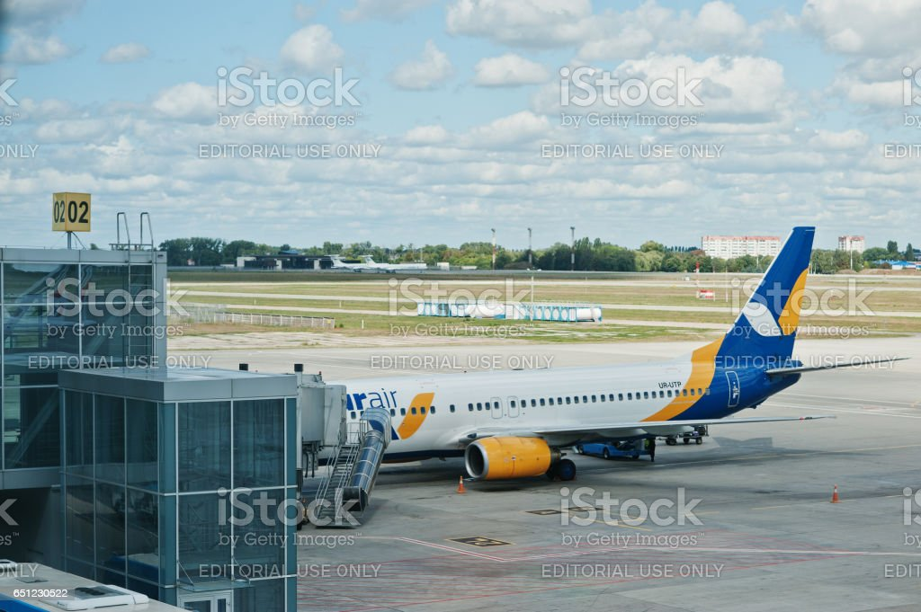 Aircraft  Azur Air ground handling in airpor tat the Boryspil near Kyiv, Ukraine. stock photo