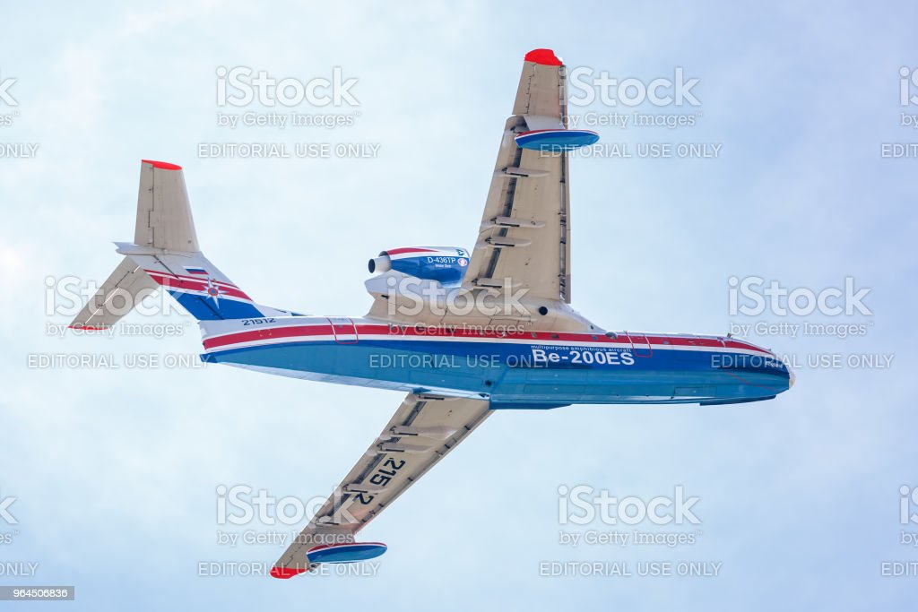 Aircraft Be-200es in flight, aft view stock photo