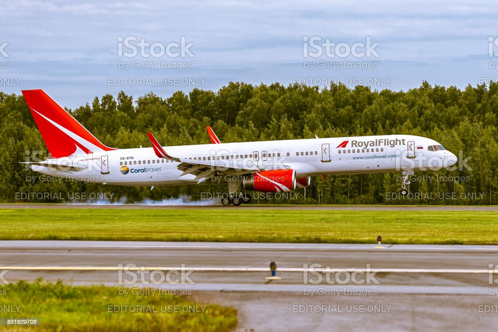 Aircraft Boeing B757 of RoyalFlight is landing on the runway at airport Pulkovo stock photo
