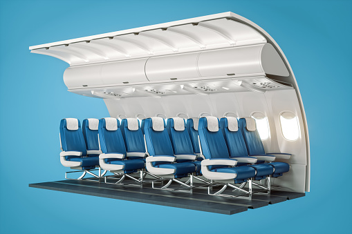 3D cross-section of airplane cabin with economy class seats.