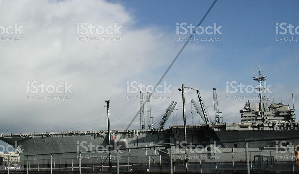 Aircraft Carrier at Naval Shipyard stock photo