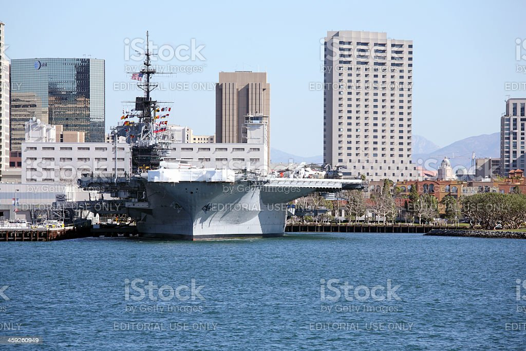 Aircraft carrier in San Diego royalty-free stock photo