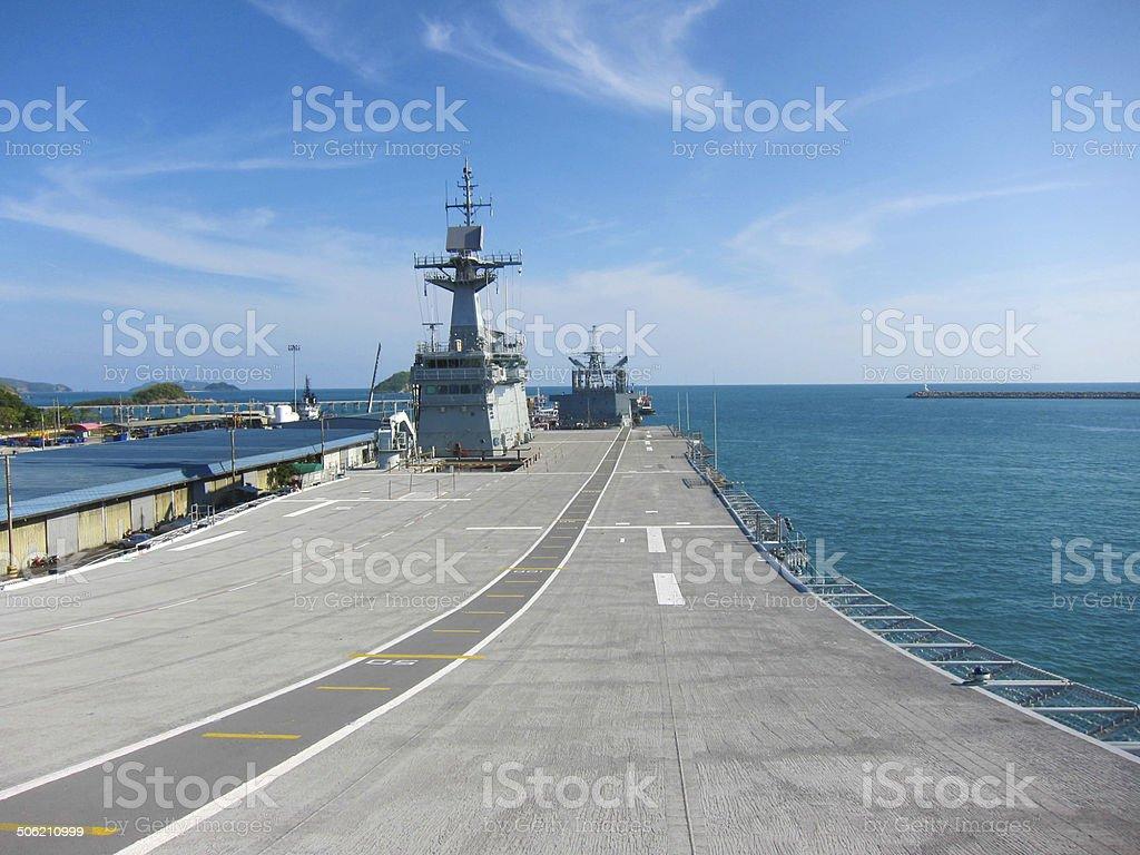 Aircraft carrier runway stock photo